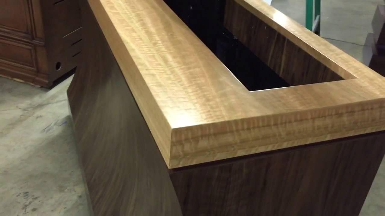 walnut bayside tv lift furniture system by cabinet tronix