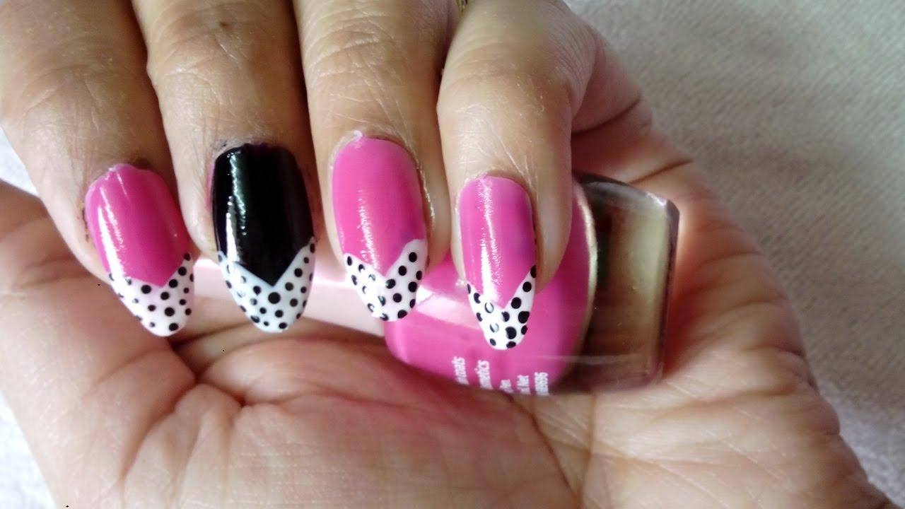 Nail Art tutorial.DIY Easy hot pink nail art design - YouTube