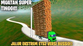 Pertama Di Bussid😱😂!!.Hino Muatan Kayu Super Tinggi Lewat Jalur Baru Bussid..