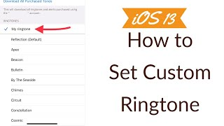 To set any song as ringtone on iphone 11 running ios 13, or you can follow the steps given in this tutorial.