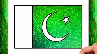 How To Draw Pakistan flag Glitter Color | Pakistani flag Glitter Color | Little Channel | for Kids