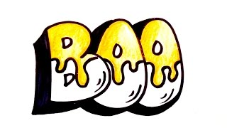 """Drawing Lesson: How to Draw """"Boo"""" Block Letters for Halloween"""