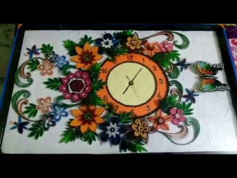 quilling wall clock...... - YouTube