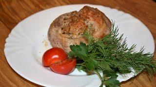 Мясные шайбы в беконе,фаршированные сыром и зеленью
