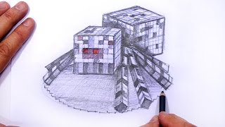 How to Draw Minecraft Spider 3D | MAT