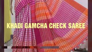 Latest Saree's Collection_Pure Handloom Gamcha check saree
