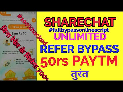 ShareChat New Unlimited Refer Bypass Script No Need Refer Any One !! Get Unlimited Paytm By Trick