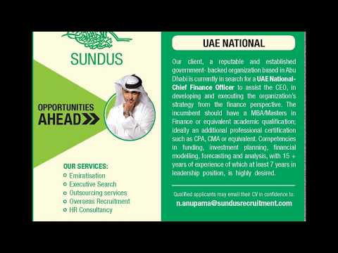 Sundus Recruitment -Job Opportunity: Chief Financial Officer -UAE National