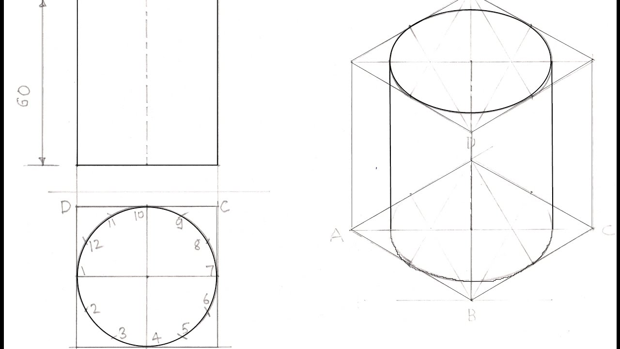 4.7a-Drawing Isometric View of a Cylinder - YouTube