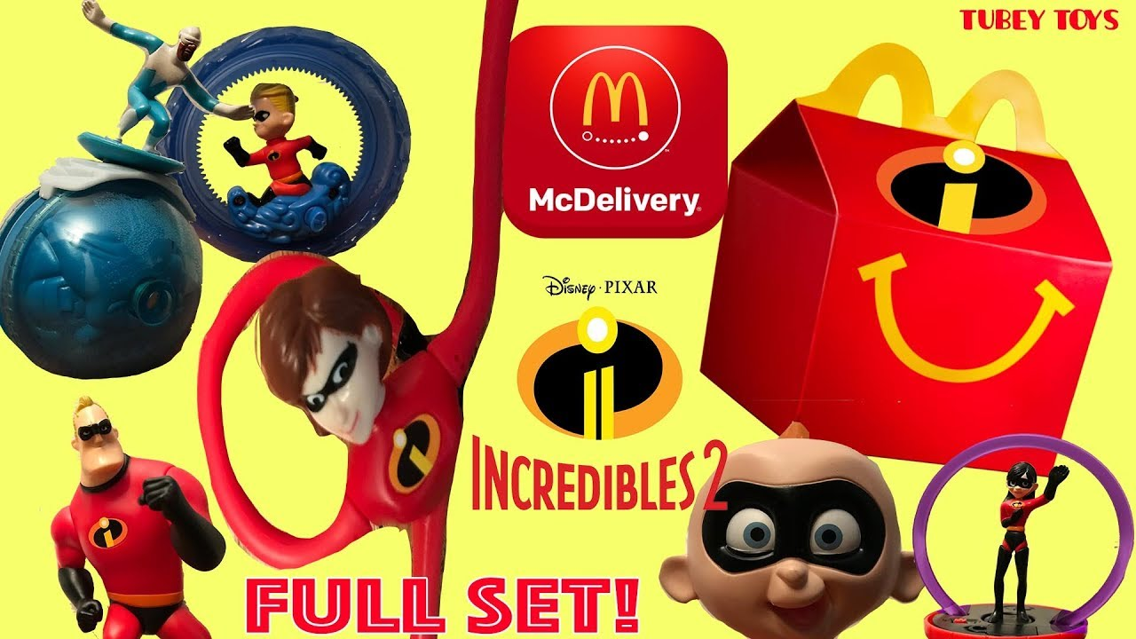 Full Set McDonald's Happy Meal Toys Disney Pixar Incredibles 2 Movie McDonald's 2004 Tubey