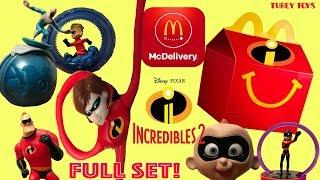 Full Set McDonald's Happy Meal Toys Disney Pixar Incredibles 2 Movie McDonald's 2004 Tubey Toys