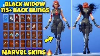 "NEW MARVEL ""BLACK WIDOW"" SKIN Showcased With 110+ BACK BLINGS! Fortnite Battle Royale AVENGERS SKINS"