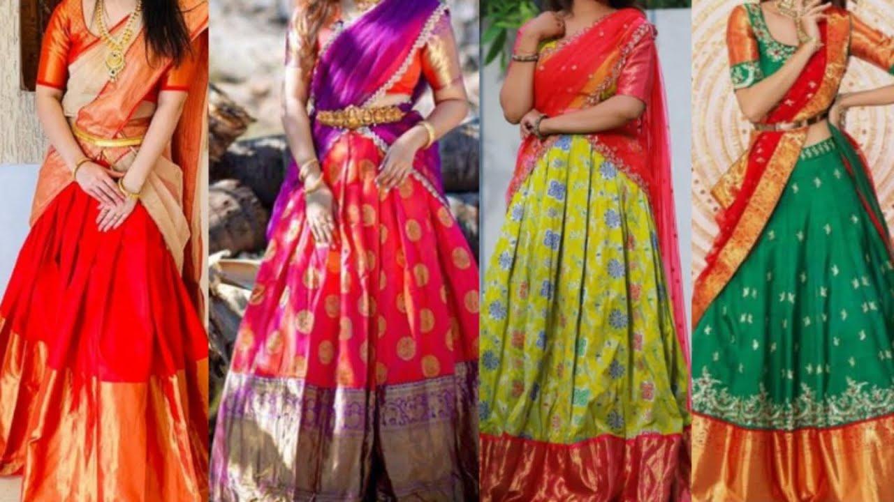 Red Color Combinations 2 Pattu Half Sarees Kanchi Ikkat Banaras Sikana Trends Youtube