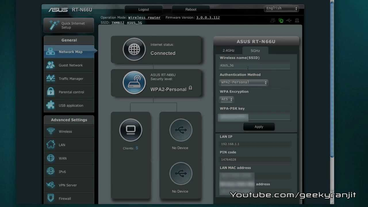 asus rt n66u wifi router admin interface