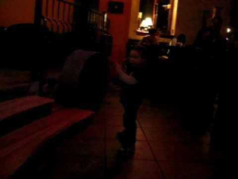 Liam (3 years old) does his Pulp Fiction dance at a pub in Boston