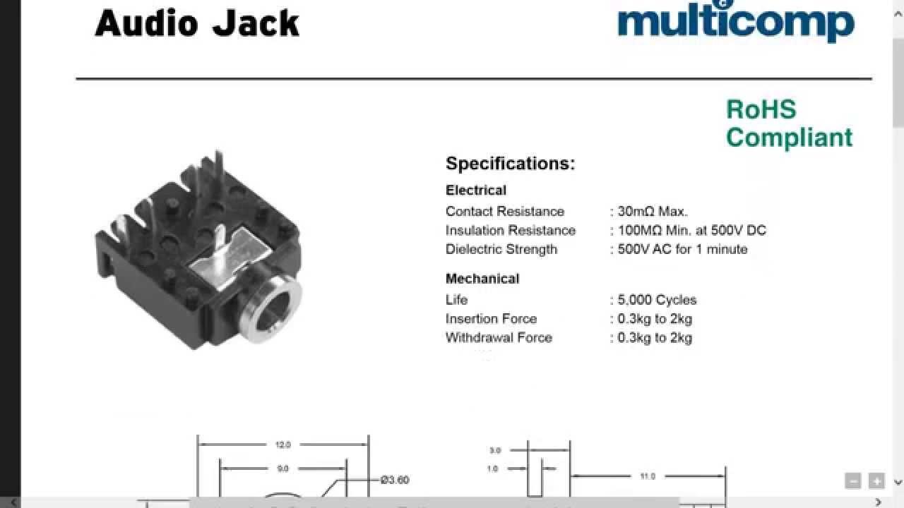 3 5 Mm Audio Jack Wiring Diagram D12 0 Audio Jack Data Sheet Youtube
