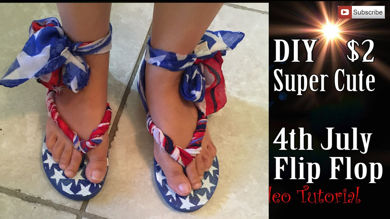 afe772401f8 Craft DIY   2 Dollars Super Cute 4th July Gladiator Flip Flop