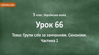 #66 Групи слів за занчанням. Синоніми. Частина 1. Відеоурок з української мови 5 клас