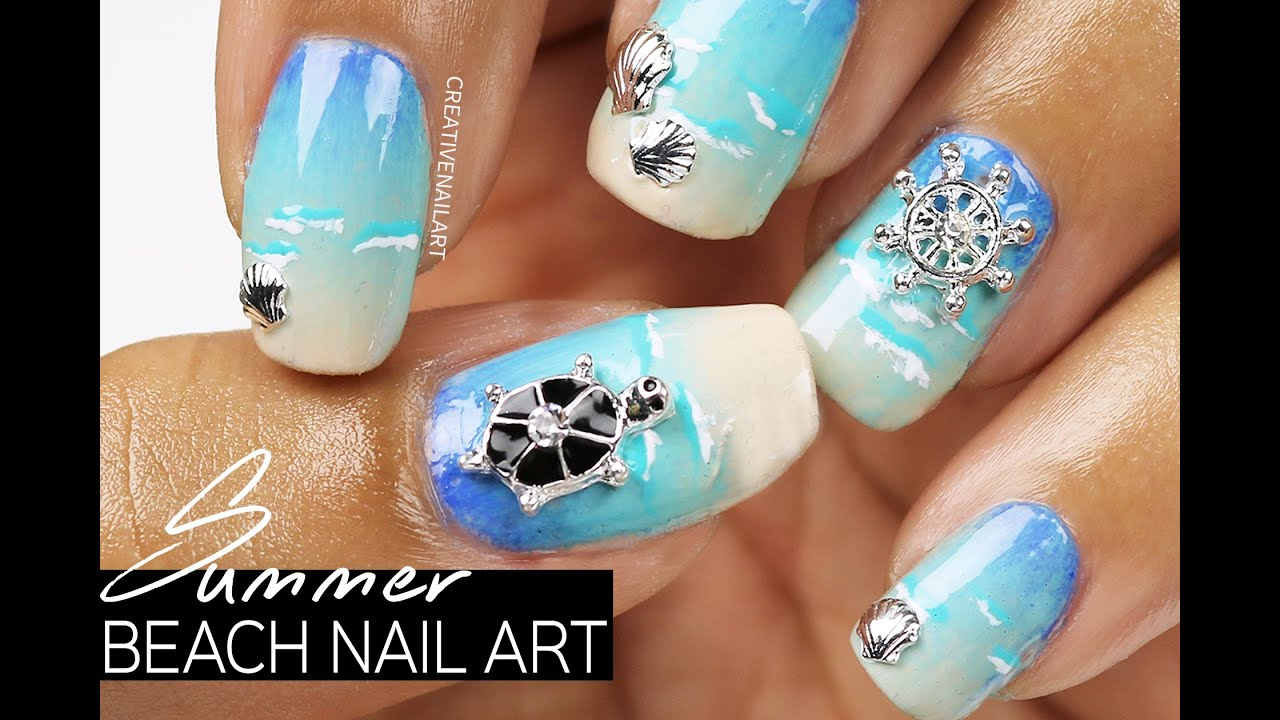 Summer beach nail art youtube summer beach nail art prinsesfo Image collections