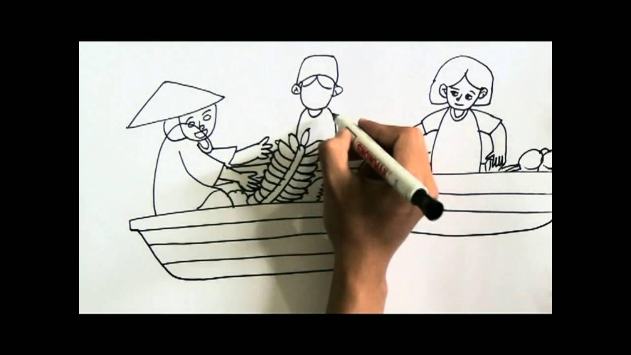 Cara Menggambar Sketsa Pasar Terapung Youtube