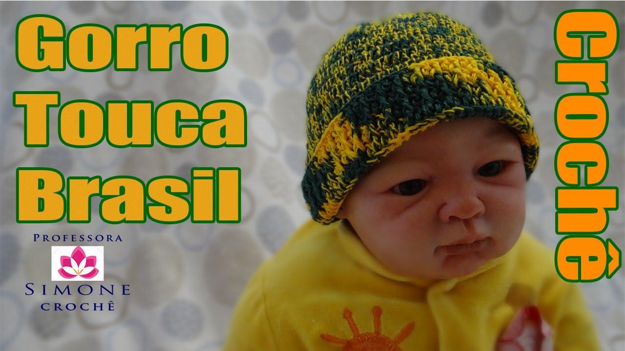 Passo a passo Gorro Touca de Crochê Brasil - Professora Simone - YouTube 3a27e3eb608