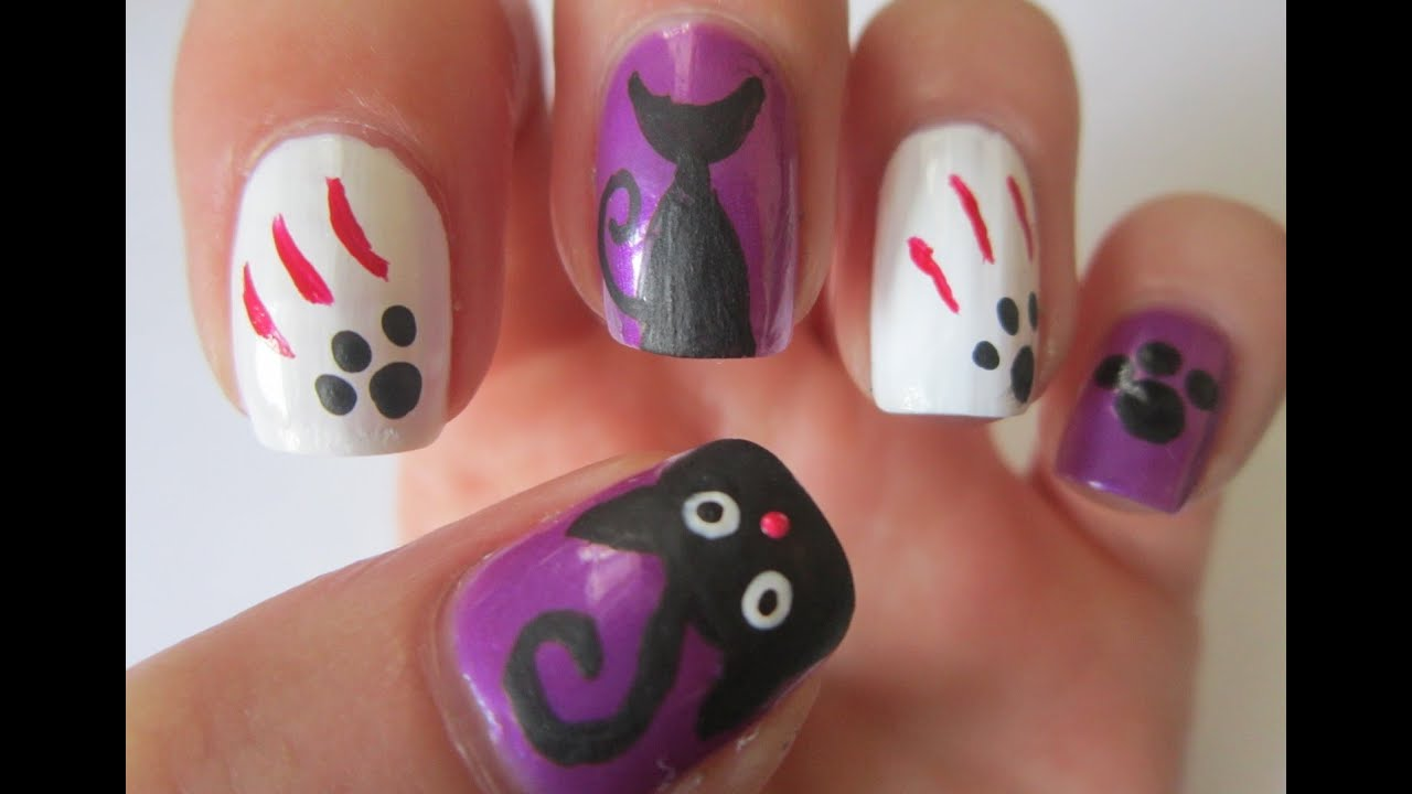 Halloween Nail Art Designs - Black Cats Nails Tutorial - YouTube