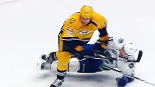McLeod lands elbow to Baertschi's head