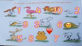 Dạy bé tập vẽ tranh tô màu ❤️???? học vẽ con vật anime theo chữ số từ 1 đến 10