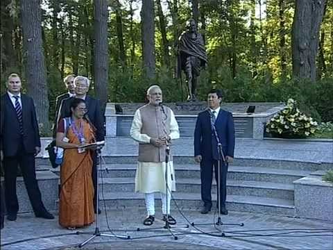 PM Modi unveils Statue of Mahatma Gandhi in Bishkek, Kyrgyzstan