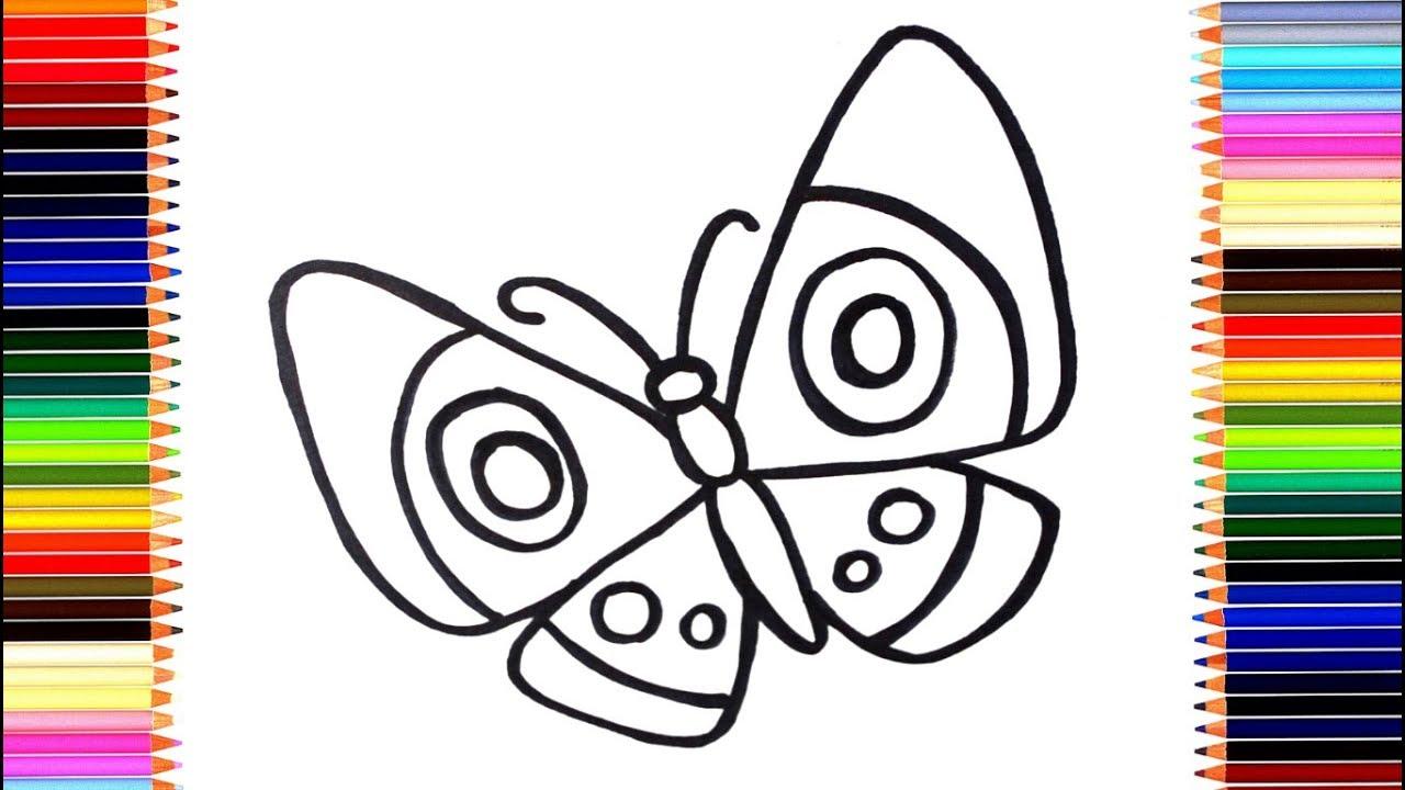 Как нарисовать бабочку/ мультик раскраска бабочка для ...