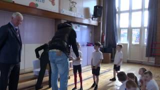 Stoke City defender Dionatan Teixeira visits Kidsgrove primary school