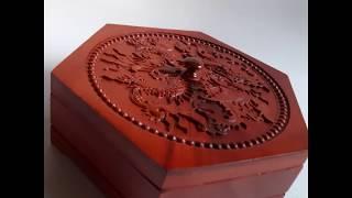Khay đựng bánh kẹo Tết bằng gỗ hương ta lục giác chạm rồng KH04