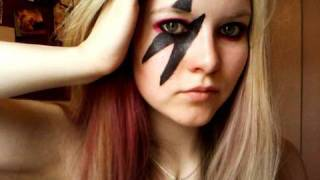 Lady Gaga Make Up Tutorial - Lightning Bolt and Pink/Black Eyes (Requested)
