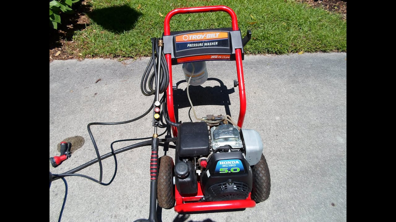 High Quality Troy Bilt Honda Power Pressure Washer GCV160 5.0HP Engine    Cleaning The  Driveway   May 26, 2013   YouTube