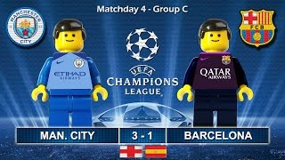 MANCHESTER CITY vs BARCELONA 3-1 • Champions League 2017 • 01/11/2016 ( Film Lego Football Goals )