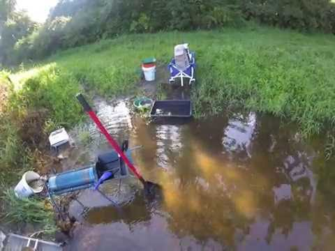 Pennsylvania Gold Prospecting. MacKirk Sluice , CalSluice Trommel, Bully Tools Shovel, Clean Out.