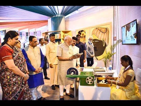 PM Modi's Visit to Textile India 2017 Exhibition in Gandhinagar, Gujarat