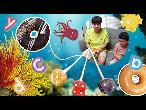 장난감 낚시 놀이! 알파벳을 모으면 사탕과 도넛이 되는 마법 상황극 놀이 Fishing Pretend Play~