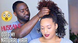 HUSBAND Does My NATURAL HAIR  (&  BABY HAIRS!) Challenge