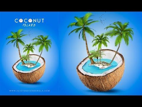 Advertising Poster Design | Coconut Island | Photoshop tutorial | Ju Joy...