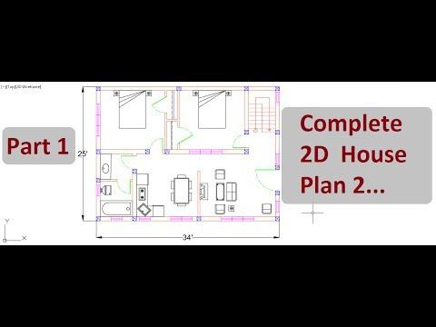 Complete 2d house plan 2 part 1 autocad 2d design on for 2d house plan software