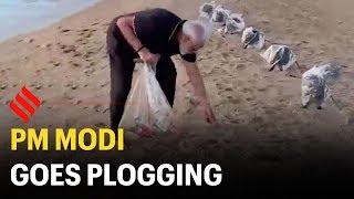 PM Modi goes plogging at Mahabalipuram beach