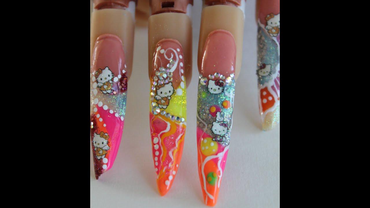 Hello Kitty Stiletto Nail Design Tutorial (Step By - YouTube