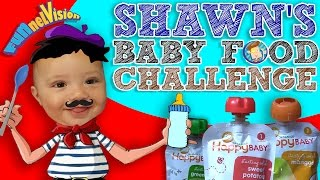 Shawn's BABY FOOD Challenge!  Baby's First Time Trying! (FUNnel Vision Eating Fun!)(We've done the Blindfold Baby Food Challenge and now it's time for 6 month old Shawn to try! :) Thumbs up for challenges!