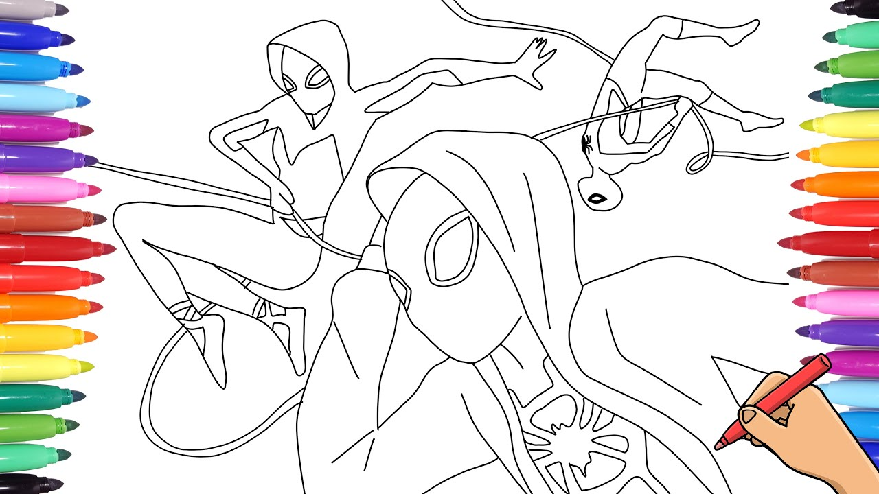 Spiderverse Coloring Pages How To Draw And Color Spiderman Miles And Gwen Stacy Spiderwoman Youtube