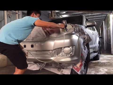 6#: Sơn Tút Cản Trước Xe FOTUNER Màu Bạc( Paint the front bumper of the FoTUNER car silver)