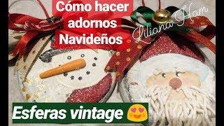 Gambar cover Adornos navideños (esferas) Vintage en mdf con pasta flexible
