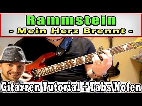 How to Play Rammstein MEIN HERZ BRENNT Tabs und Chords E GItarre Keyboardmelodie HD