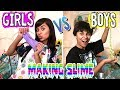 How To Make Slime - Girls Vs Boys - Easy Slime - Fun Galaxy Slime : JUST GISELLE // GEM Sisters