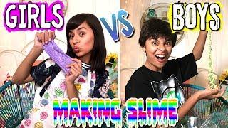 How To Make Slime - Girls Vs Boys - Easy Slime - Fun Galaxy Slime : JUST GISELLE // GEM Sisters